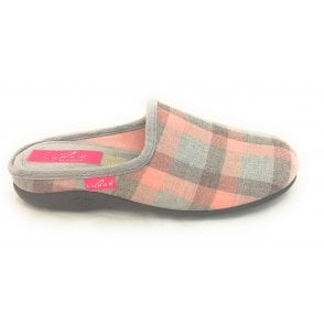 Tequila Pink Check Mule Slipper