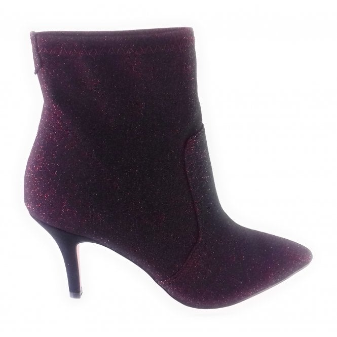 Lotus Thames Red Shimmer Stretch Ankle Boot