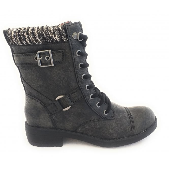 Thunder Galaxy Black Lace-Up Boot