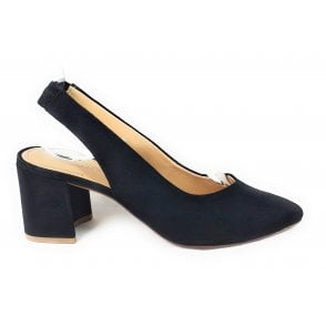 Tiana 411-91370-3400 Black Suede Sling-Back Court Shoes