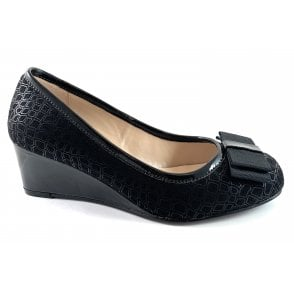 Tiffany Black Print Wedge Shoe