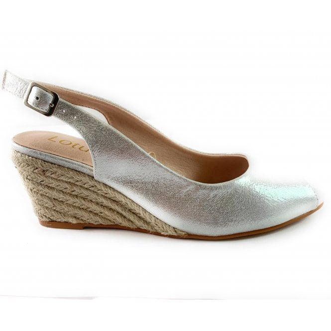 Lotus Tiffany Silver Espadrille Wedge