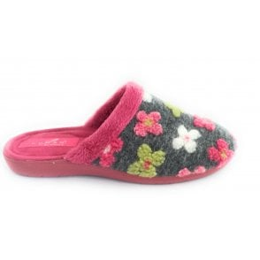 Tiffin Grey Floral Mule Slipper