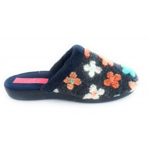 Tiffin Navy Floral Mule Slipper