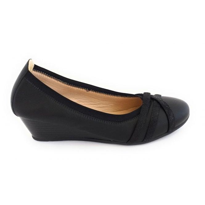 Lotus Tina Black Wedge Shoe