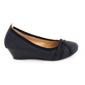 Tina Navy Wedge Shoe