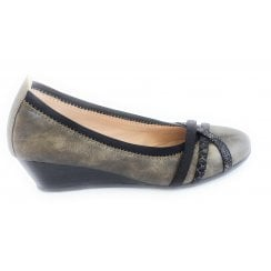 Tina Pewter Wedge Shoe