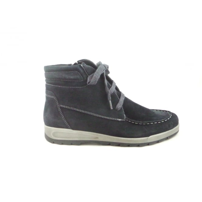 Ara Tokio 12-49810 Navy Blue Microvelour Lace-Up Casual Boot