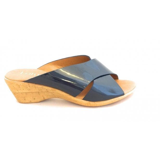 Lotus Tonia Navy Patent Wedge Mule Sandal