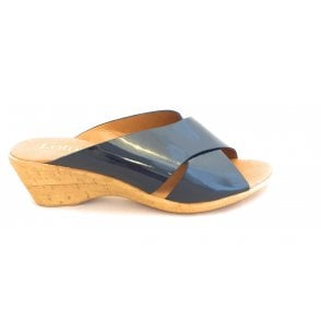 Tonia Navy Patent Wedge Mule Sandal
