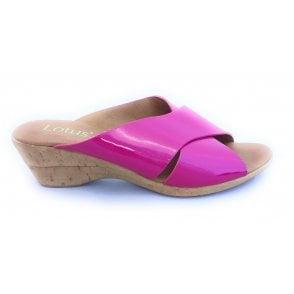 Tonia Pink Patent Wedge Mule Sandal