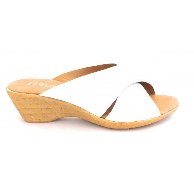 Lotus Tonia White Patent Wedge Mule Sandal