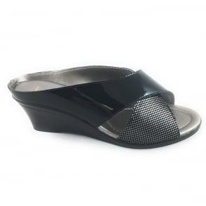 Trino Black Patent Black Patent with metallic print Leather Open-Toe Mule Sandal