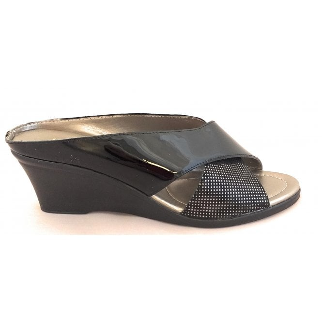 Lotus Trino Black Patent Leather Open-Toe Mule Sandal