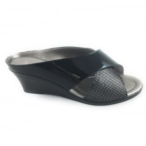 Trino Black Patent with metallic print Leather Open-Toe Mule Sandal