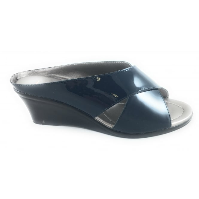 Lotus Trino Navy Patent Leather Open-Toe Mule Sandal