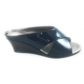 Trino Navy Patent Leather Open-Toe Mule Sandal