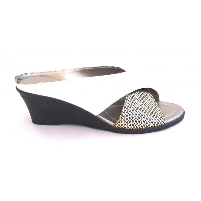 Lotus Trino White Leather and SnakePrint Open-Toe Mule Sandal