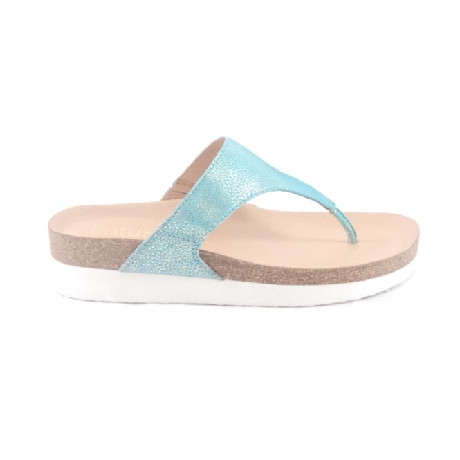 Lotus Turquoise and Gold Toe-Post Sandal