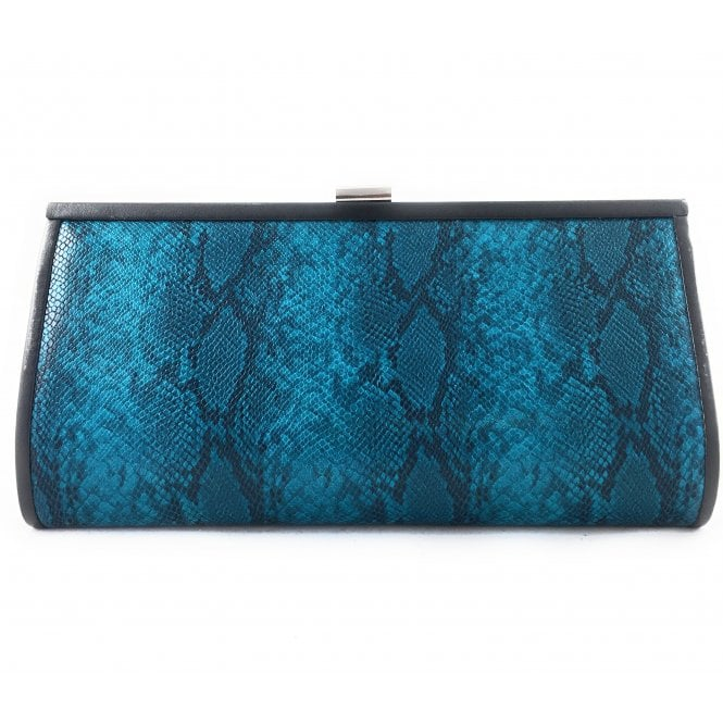Lotus Turquoise Reptile Print Leather Clutch Bag