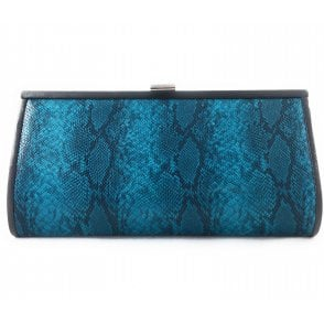 Turquoise Reptile Print Leather Clutch Bag
