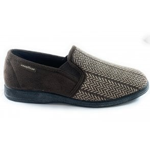 Tweed Brown Slippers
