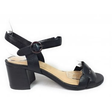 Vaiana 411-67984-4000 Black Leather Heeled Sandals