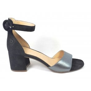 Vaiana 411-67985-4934 Black Suede Heeled Sandals