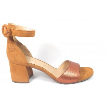 Vaiana 411-67985-4934 Tan Suede and Metallic Sandals