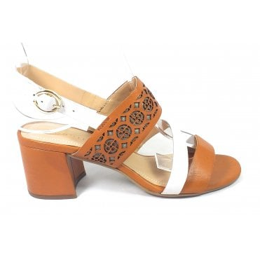 Vaiana 411-67986-1010 Tan and White Leather Sandals