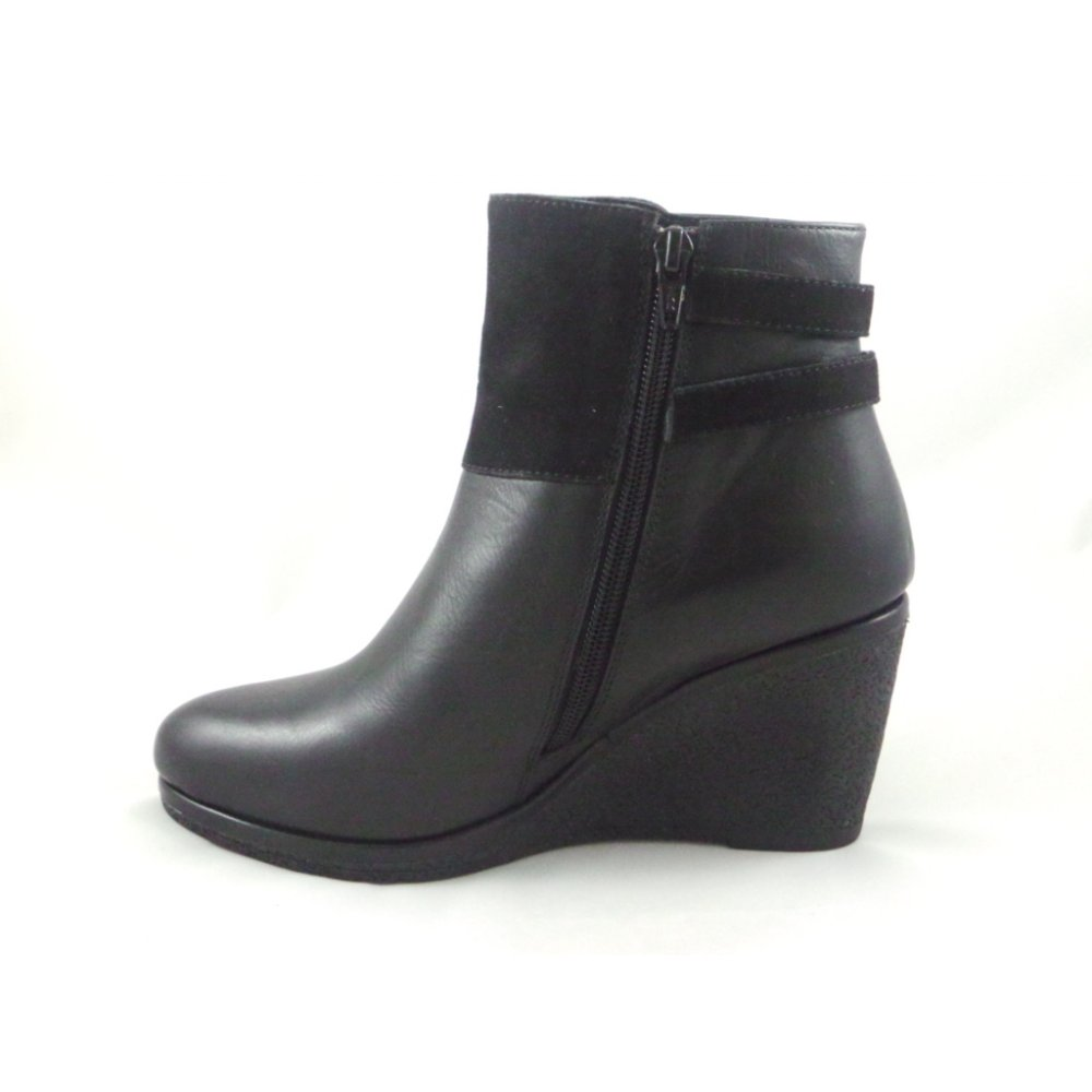 Black Leather Ankle Wedge Boots - Boot Ri