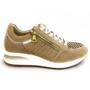 Venice 411-A2T03-3549 Sand and Gold Leather Trainers
