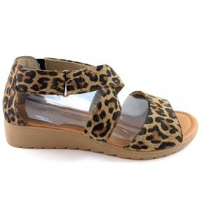 Lotus Veronica Leopard Print Closed Heel Sandal