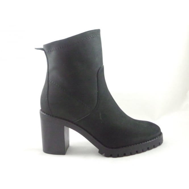 W128 Black Microfibre Ankle Boot