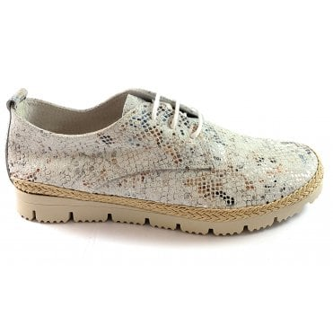 W5 White Metallic Reptile Print Casual Shoe