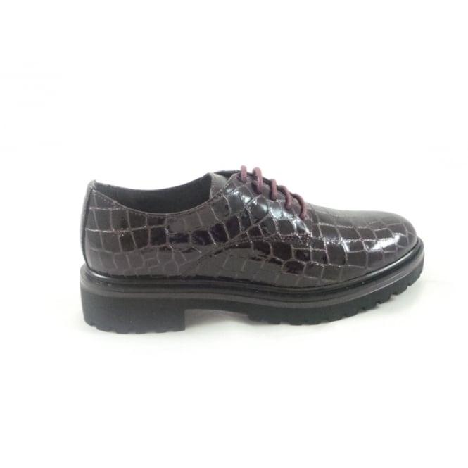 Aeros W517 Marion Bordo Patent Croc Print Lace-Up Shoe