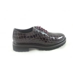 W517 Marion Bordo Patent Croc Print Lace-Up Shoe