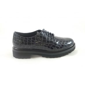 W517 Marion Navy Patent Croc Print Lace-Up Shoe