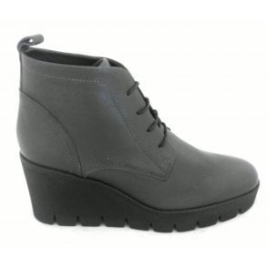 WE105 Grey Leather Lace-Up Wedge Ankle Boot