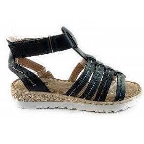 WE24 Marina Black Leather Gladiator Sandal