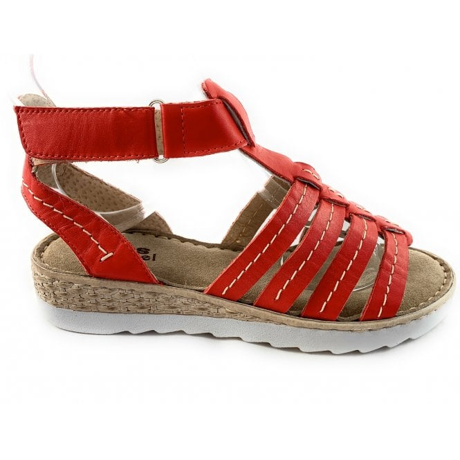 Aeros WE24 Marina Red Leather Gladiator Sandal