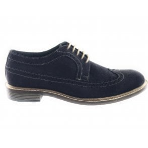 Wentworth Navy Suede Lace-Up Brogue