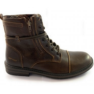 West Coast Bradley Brown Leather Lace-Up Boot