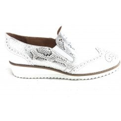 White and Silver Sequin Effect Slip on Wedge Shoe