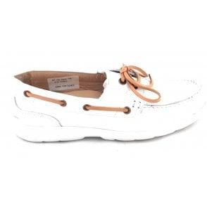 White Leather Boating Shoe