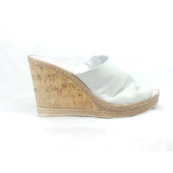 0b8a170e4438 White Leather Wedge Mule Sandal - from size4footwear.com UK