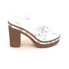 White Leather Wooden Platform Sandal