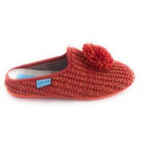 Wisdom Orange Knitted Mule Slippers