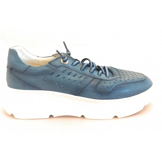 Bugatti Womens 411-84404-4100 Blue Leather Lace-Up Trainers