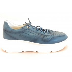 Womens 411-84404-4100 Blue Leather Lace-Up Trainers